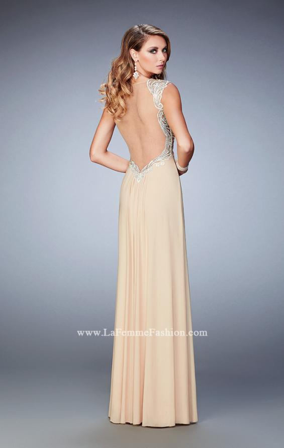 Picture of: Prom Gown with Gathered Bodice and Beaded Lace Detail, Style: 22055, Back Picture