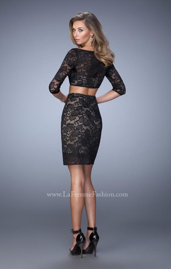 Picture of: 3/4 Sleeve Two Piece Long Prom Dress in Black, Style: 22061, Back Picture