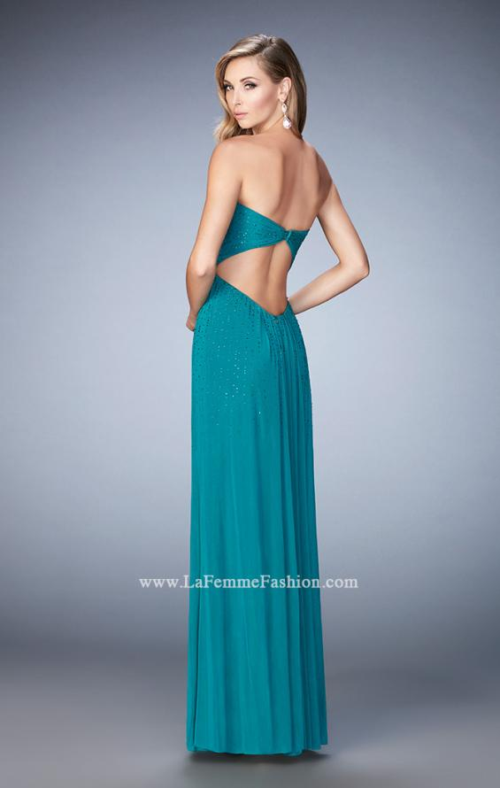 Picture of: Long Prom Dress with Rhinestones and Open Back, Style: 22070, Back Picture