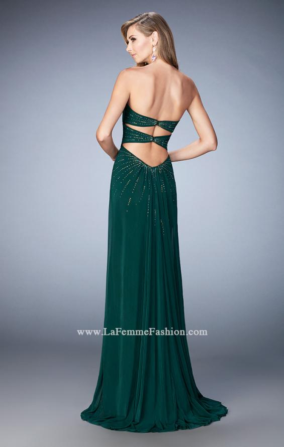 Picture of: Long Prom Dress with Side Slit and Modest Train in Green, Style: 22071, Back Picture