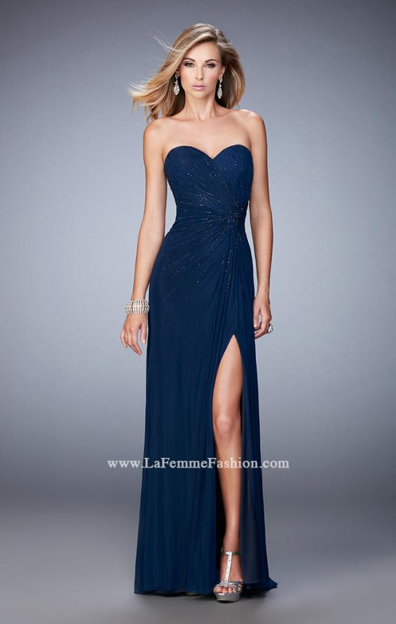 Picture of: Long Prom Dress with Side Slit and Modest Train in Blue, Style: 22071, Detail Picture 2