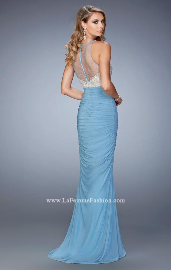 Picture of: Ruched Skirt and Sheer Neck Prom Gown with Rhinestones, Style: 22073, Back Picture