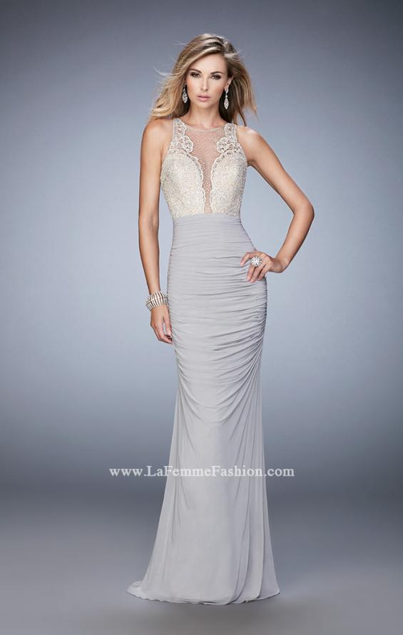 Picture of: Ruched Skirt and Sheer Neck Prom Gown with Rhinestones, Style: 22073, Detail Picture 1