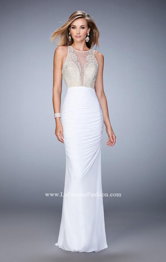 Picture of: Ruched Skirt and Sheer Neck Prom Gown with Rhinestones, Style: 22073, Detail Picture 2