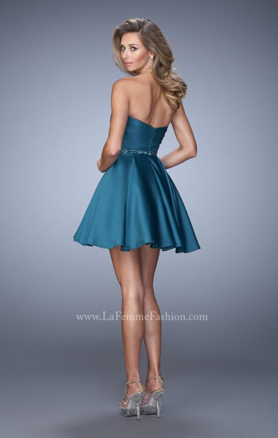 Picture of: Short Satin Dress with Criss Cross Ruched Bodice, Style: 22083, Back Picture