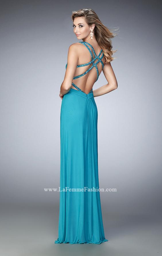 Picture of: Net Prom Gown with Cut Outs and Crystal Strappy Back in Blue, Style: 22089, Main Picture