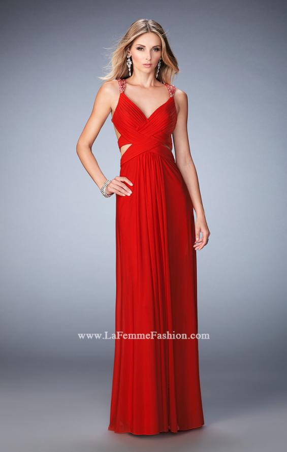 Picture of: Net Prom Gown with Cut Outs and Crystal Strappy Back in Red, Style: 22089, Back Picture