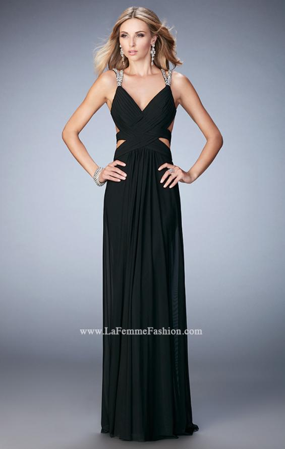 Picture of: Net Prom Gown with Cut Outs and Crystal Strappy Back in Black, Style: 22089, Detail Picture 3