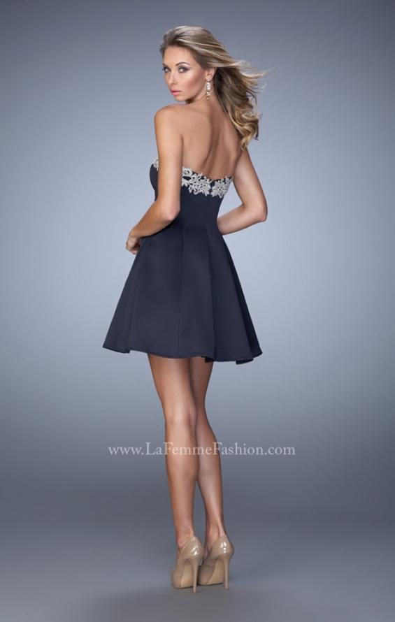 Picture of: Satin Short Dress with Lace Trim Neckline and Pockets, Style: 22101, Back Picture
