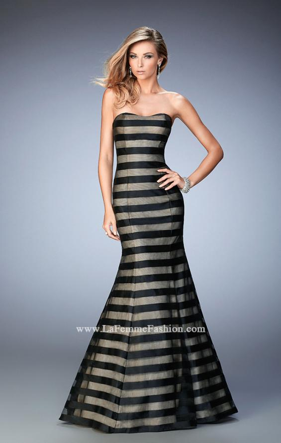 Picture of: Striped Organza Mermaid Gown with Scoop Neckline in Black, Style: 22118, Main Picture