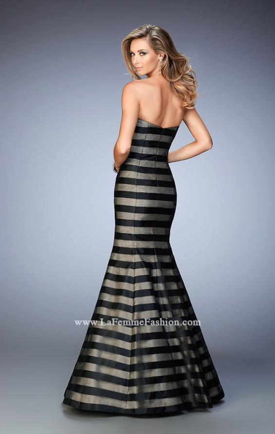 Picture of: Striped Organza Mermaid Gown with Scoop Neckline in Black, Style: 22118, Back Picture