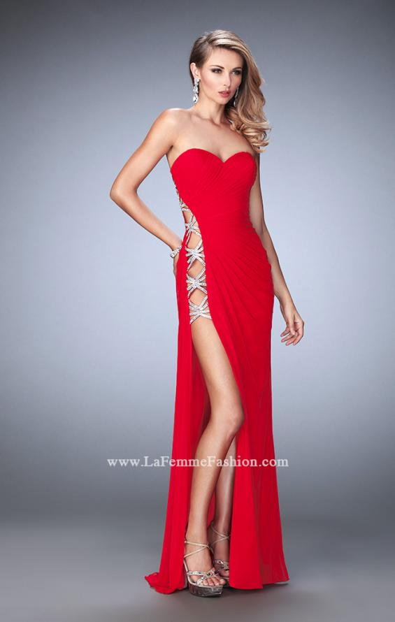 Picture of: Jersey Prom Gown with Beaded Cut Out Side Panels in Red, Style: 22125, Main Picture