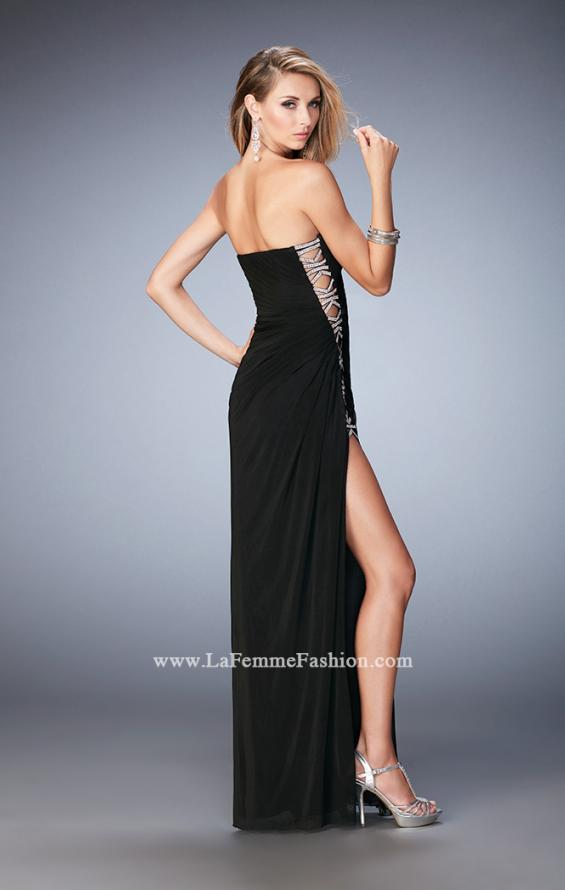 Picture of: Jersey Prom Gown with Beaded Cut Out Side Panels in Black, Style: 22125, Back Picture