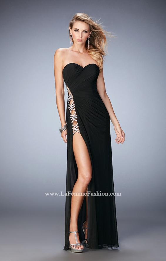 Picture of: Jersey Prom Gown with Beaded Cut Out Side Panels in Black, Style: 22125, Detail Picture 1