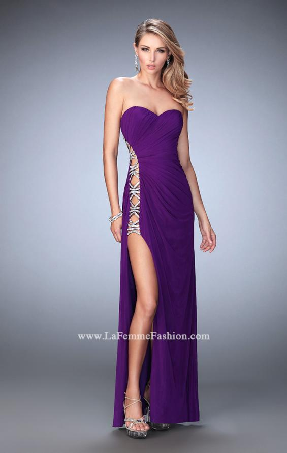 Picture of: Jersey Prom Gown with Beaded Cut Out Side Panels in Purple, Style: 22125, Detail Picture 2