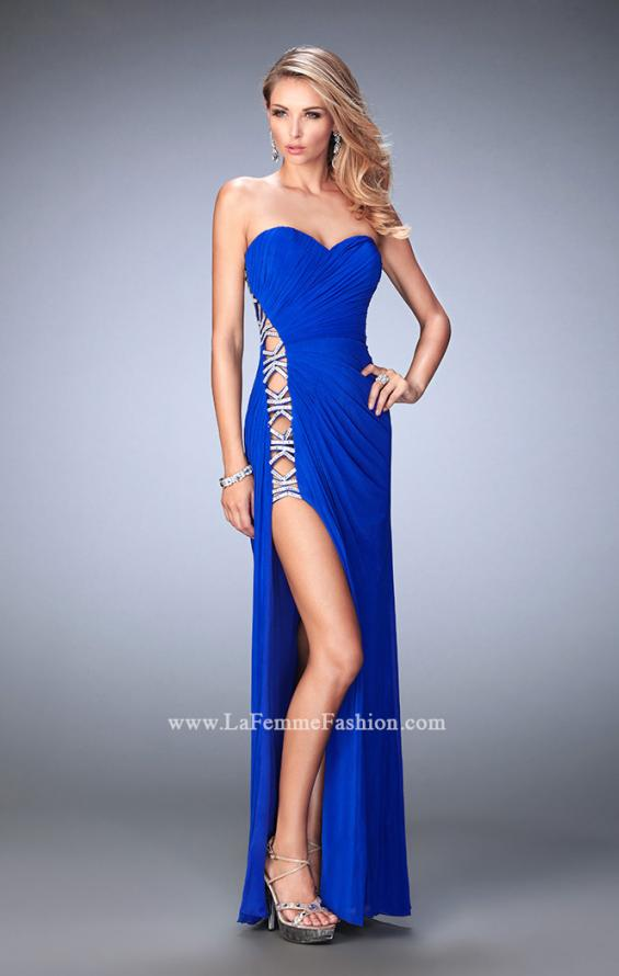Picture of: Jersey Prom Gown with Beaded Cut Out Side Panels in Blue, Style: 22125, Detail Picture 3