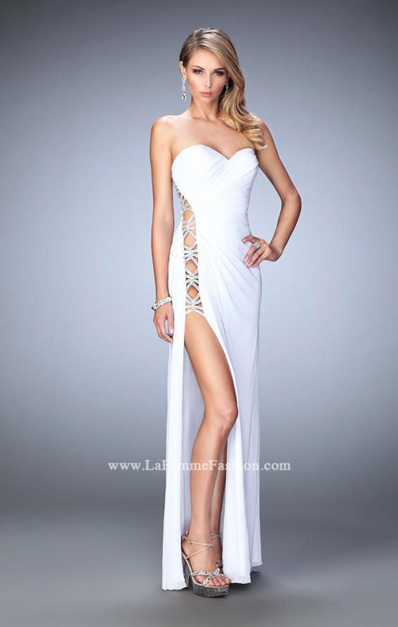 Picture of: Jersey Prom Gown with Beaded Cut Out Side Panels in White, Style: 22125, Detail Picture 4
