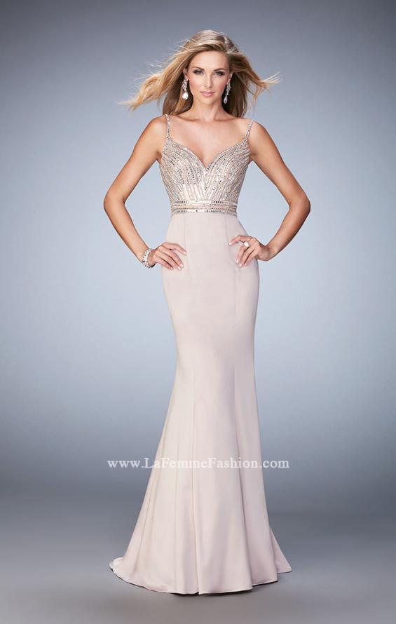 Picture of: Stretch Satin Gown with Train and Crystal Embellishments in Nude, Style: 22131, Main Picture