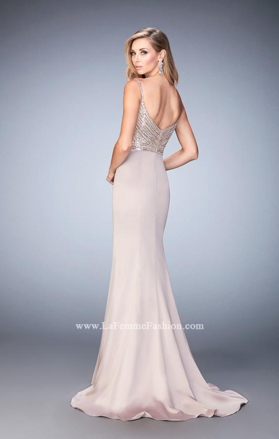 Picture of: Stretch Satin Gown with Train and Crystal Embellishments in Nude, Style: 22131, Back Picture