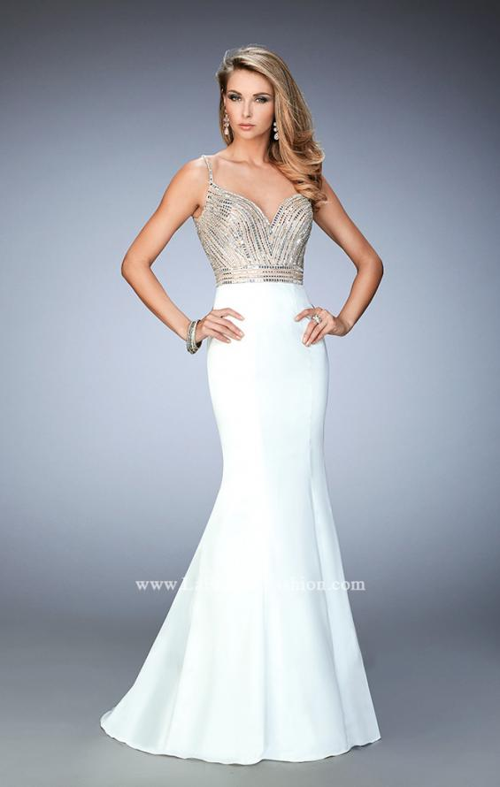 Picture of: Stretch Satin Gown with Train and Crystal Embellishments in White, Style: 22131, Detail Picture 1
