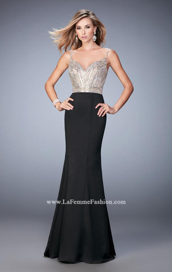 Picture of: Stretch Satin Gown with Train and Crystal Embellishments in Black, Style: 22131, Detail Picture 2