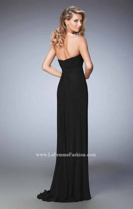 Picture of: Net Prom Gown with Embellishments and Side Leg Slit in Black, Style: 22136, Back Picture
