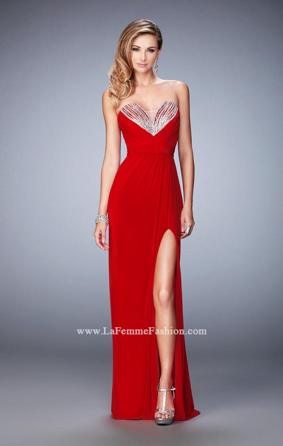 Picture of: Net Prom Gown with Embellishments and Side Leg Slit in Red, Style: 22136, Detail Picture 1