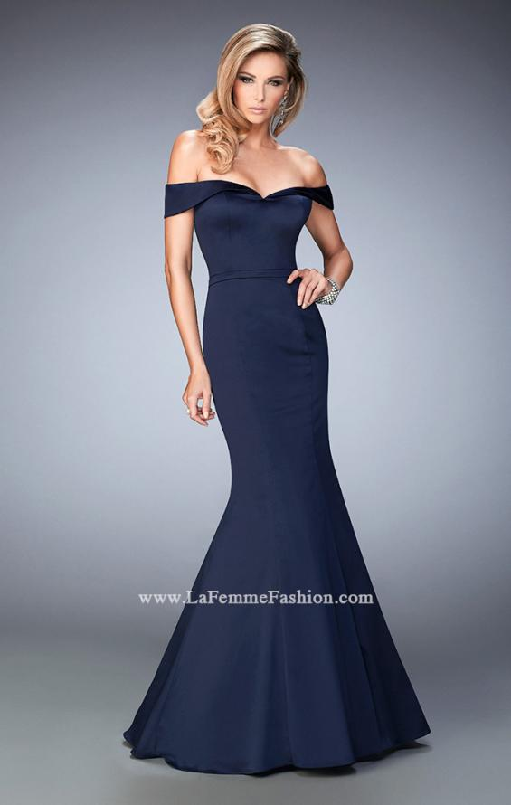 Picture of: Stretch Satin Jersey Dress with Off the Shoulder Straps in Blue, Style: 22149, Main Picture