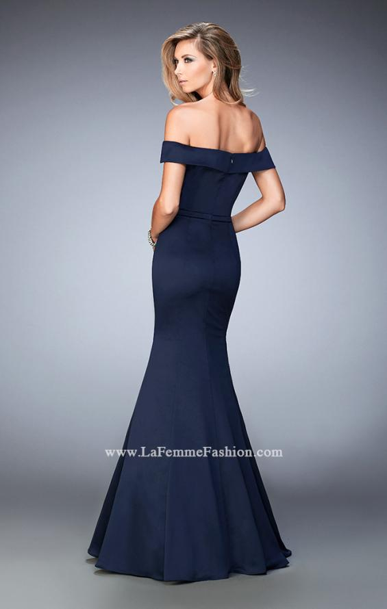 Picture of: Stretch Satin Jersey Dress with Off the Shoulder Straps in Blue, Style: 22149, Back Picture