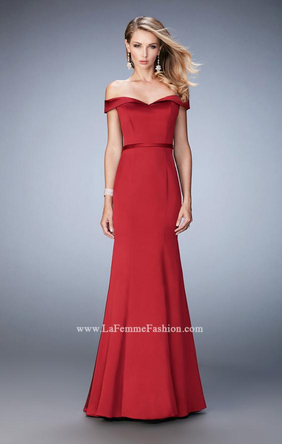 Picture of: Stretch Satin Jersey Dress with Off the Shoulder Straps in Red, Style: 22149, Detail Picture 1
