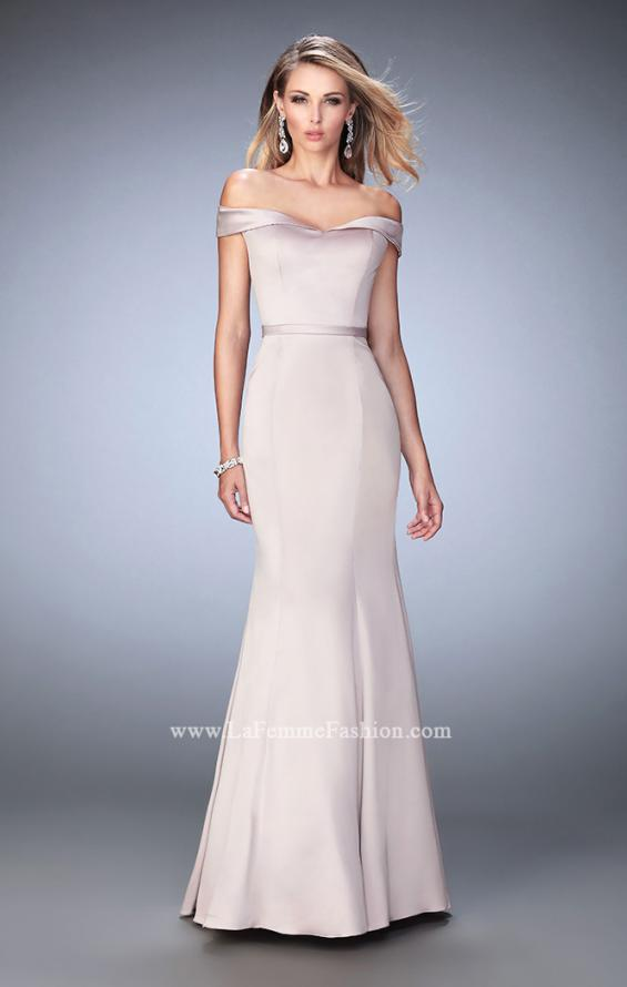 Picture of: Stretch Satin Jersey Dress with Off the Shoulder Straps in Nude, Style: 22149, Detail Picture 2
