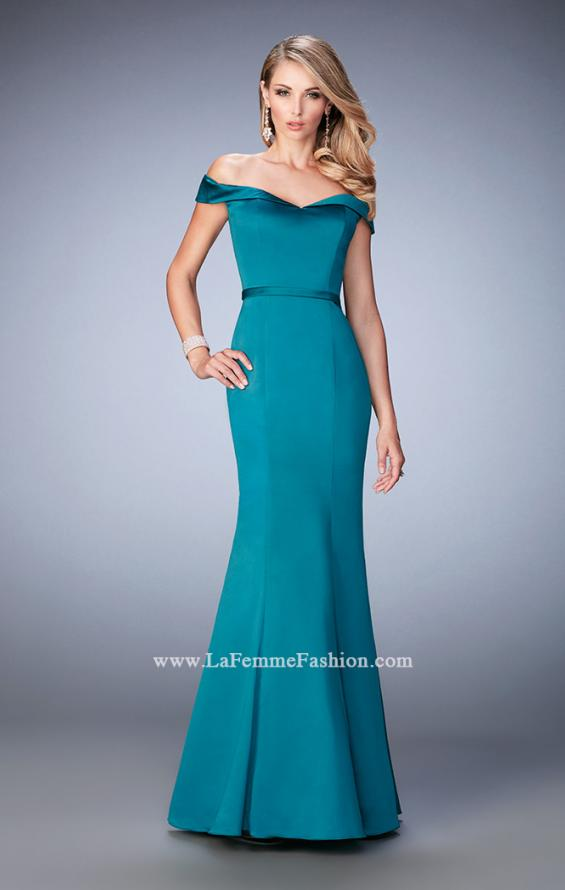 Picture of: Stretch Satin Jersey Dress with Off the Shoulder Straps in Green, Style: 22149, Detail Picture 3
