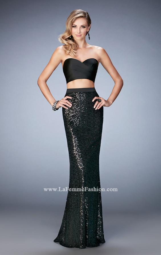 Picture of: Glam Two Piece Gown with Sequin Skirt and Satin Bodice in Black, Style: 22151, Main Picture