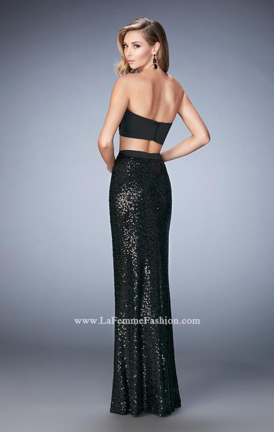 Picture of: Glam Two Piece Gown with Sequin Skirt and Satin Bodice in Black, Style: 22151, Back Picture