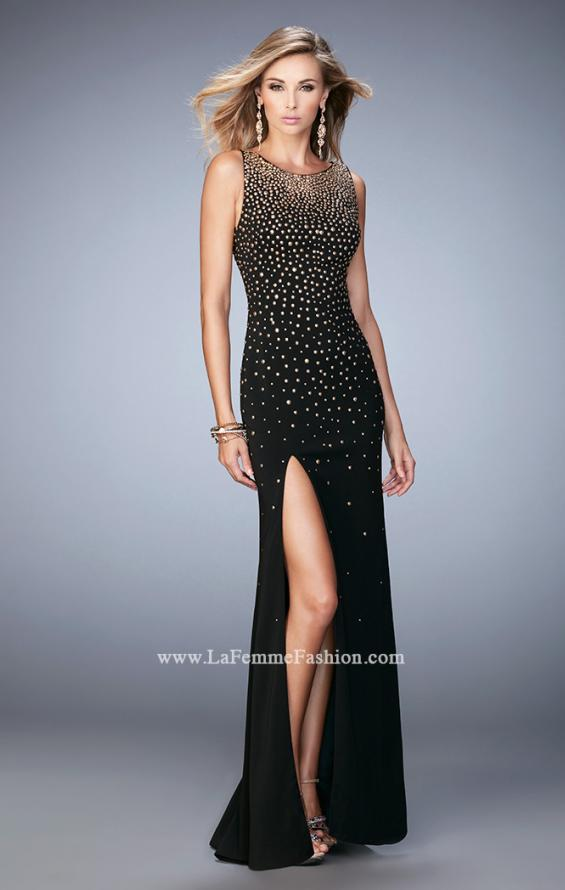 Picture of: Gold Metallic Embellished Jersey Prom Dress with Slit, Style: 22152, Detail Picture 1