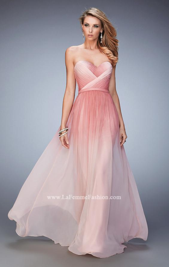 Picture of: Ombre Chiffon Prom Dress with Gathered Bodice in Pink, Style: 22156, Main Picture