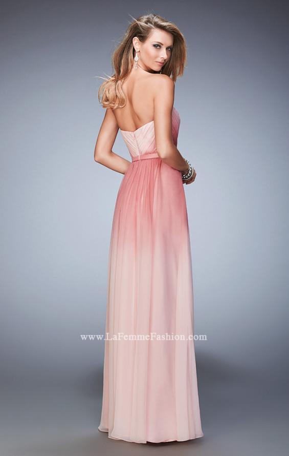 Picture of: Ombre Chiffon Prom Dress with Gathered Bodice in Pink, Style: 22156, Back Picture
