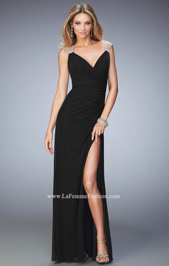 Picture of: Long Prom Dress with Panel Detail and a Side Leg Slit in Black, Style: 22158, Main Picture