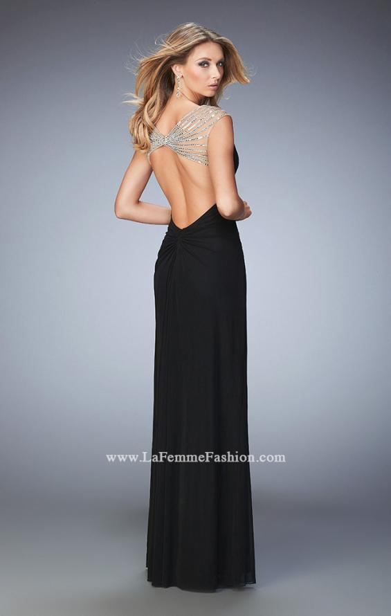 Picture of: Long Prom Dress with Panel Detail and a Side Leg Slit in Black, Style: 22158, Back Picture