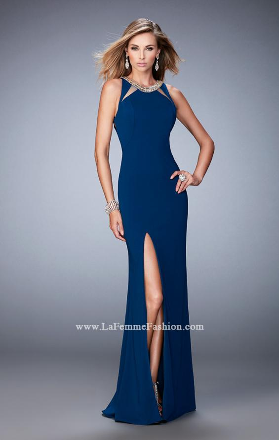 Picture of: Prom Dress with Neckline Cut Outs, Crystals, and Slit in Blue, Style: 22174, Detail Picture 1