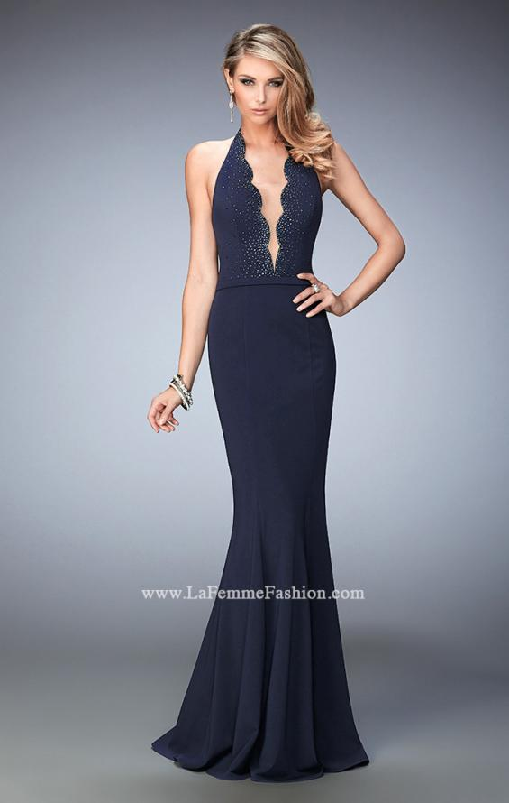 Picture of: Fit and Flare Prom Dress with Scalloped Halter Neckline in Blue, Style: 22175, Main Picture