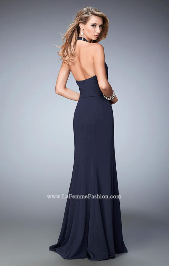 Picture of: Fit and Flare Prom Dress with Scalloped Halter Neckline in Blue, Style: 22175, Back Picture