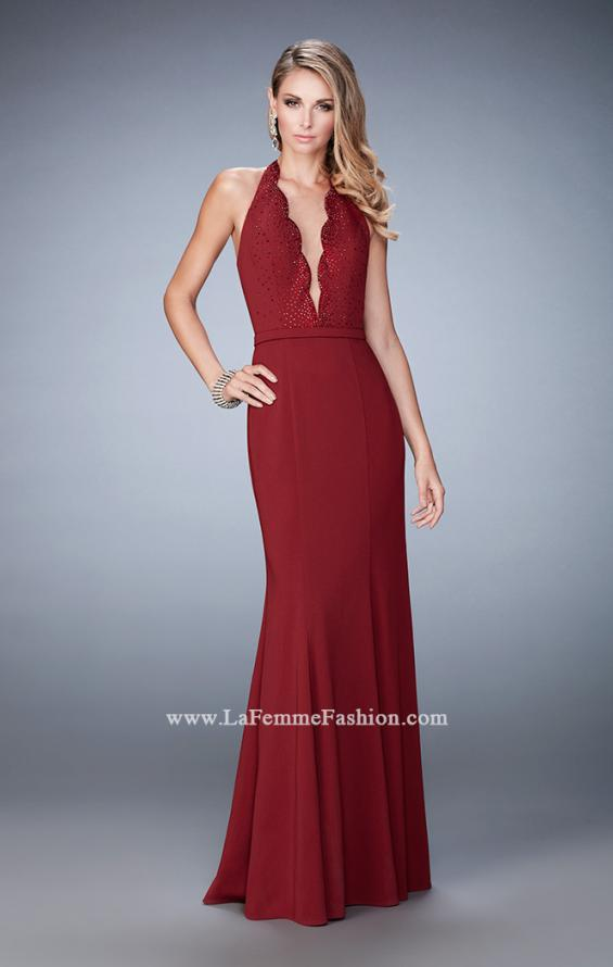 Picture of: Fit and Flare Prom Dress with Scalloped Halter Neckline in Red, Style: 22175, Detail Picture 1