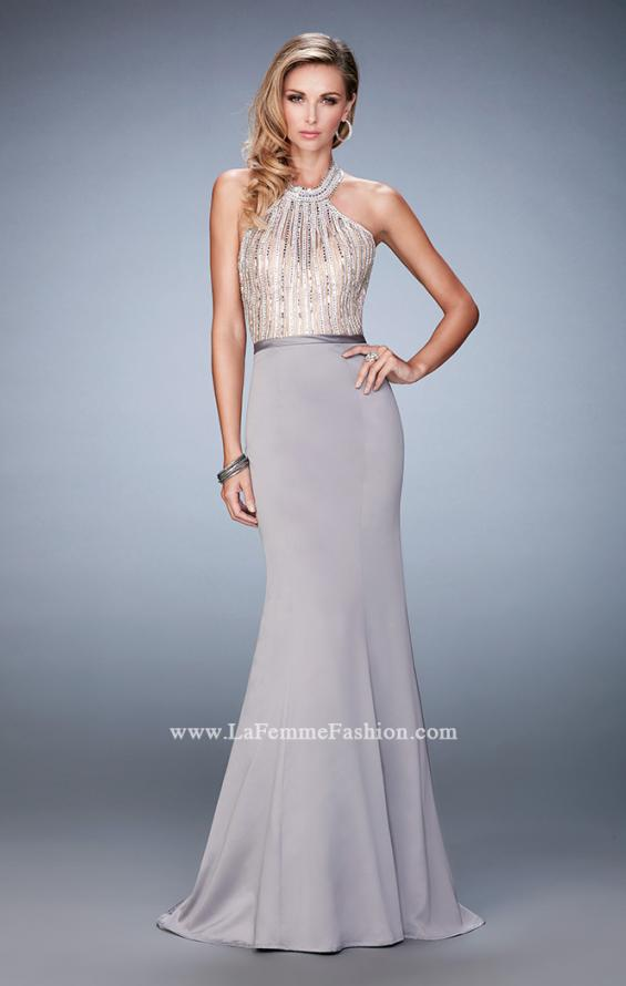 Picture of: Mermaid Prom Gown with Crystal Halter Bodice and Train in Silver, Style: 22177, Detail Picture 1