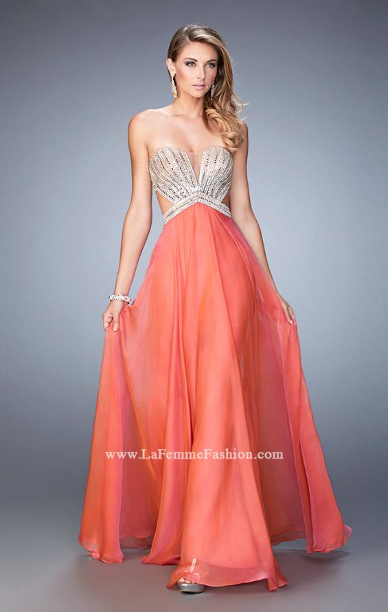 Picture of: Sweetheart Chiffon Gown with Cut Outs and Crystals in Orange, Style: 22179, Main Picture