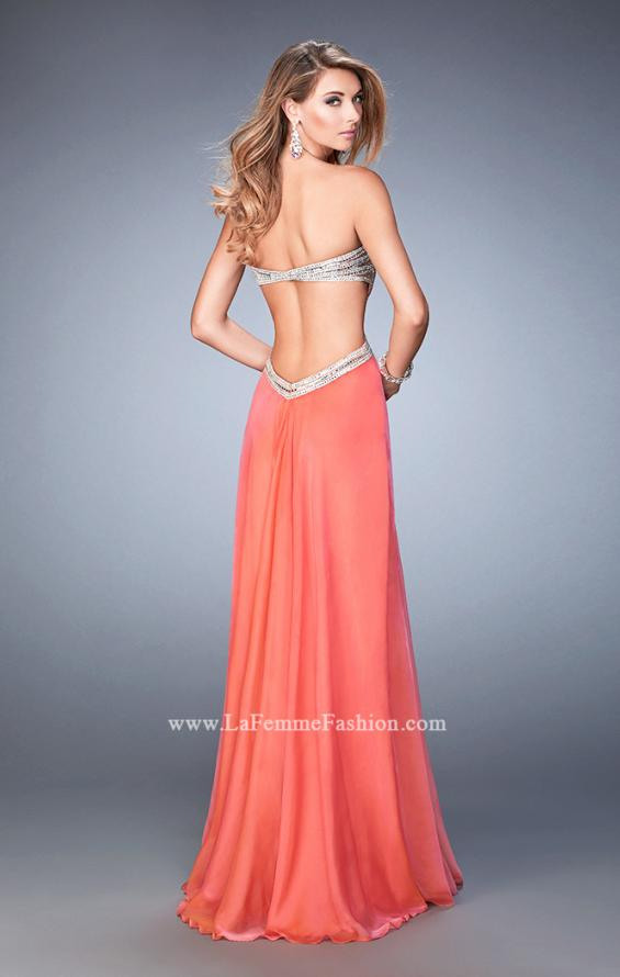 Picture of: Sweetheart Chiffon Gown with Cut Outs and Crystals in Orange, Style: 22179, Back Picture