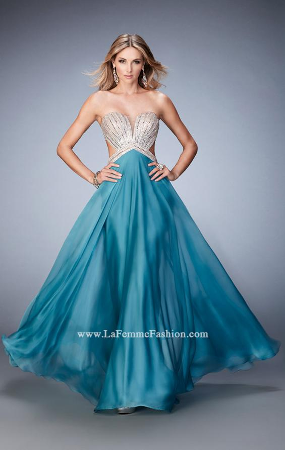 Picture of: Sweetheart Chiffon Gown with Cut Outs and Crystals in Blue, Style: 22179, Detail Picture 1