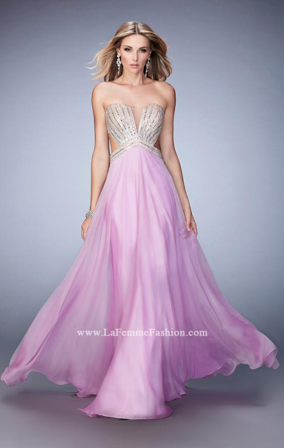Picture of: Sweetheart Chiffon Gown with Cut Outs and Crystals in Purple, Style: 22179, Detail Picture 2