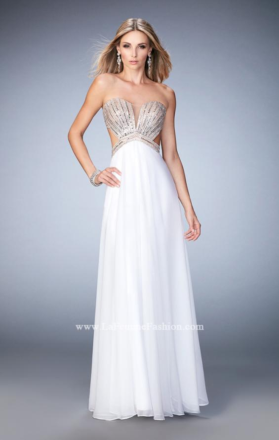 Picture of: Sweetheart Chiffon Gown with Cut Outs and Crystals in White, Style: 22179, Detail Picture 3