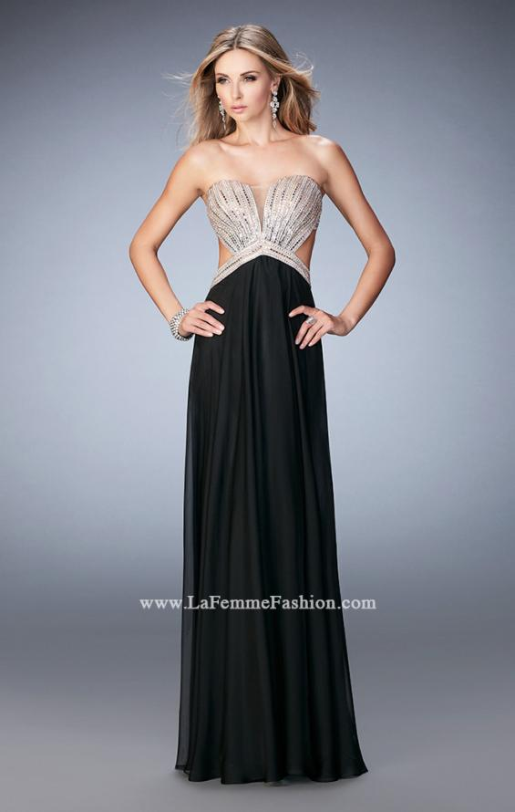 Picture of: Sweetheart Chiffon Gown with Cut Outs and Crystals in Black, Style: 22179, Detail Picture 4